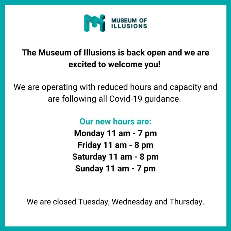 text image showing new working hours of the museum